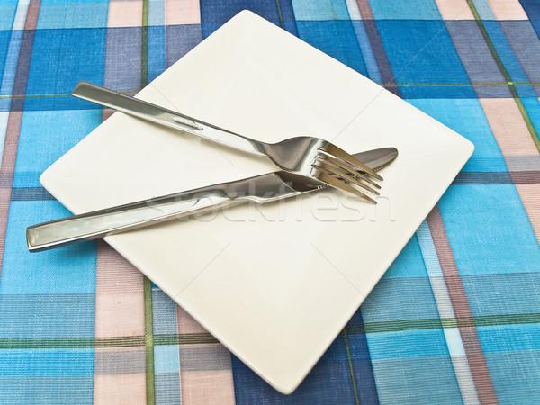 皿 テーブルクロス フォーク ナイフ 青 キッチン ストックフォト © SRNR