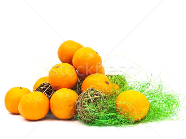 mandarines decoration with green and golden Stock photo © SRNR