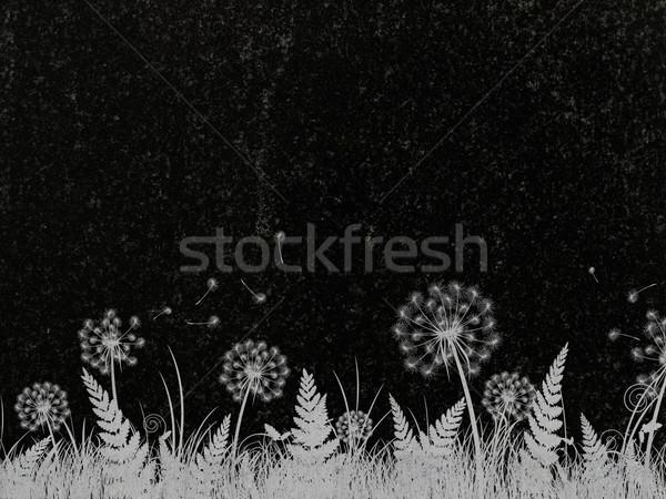 Díszített gránit pitypang dekoráció fekete sírkő Stock fotó © SRNR