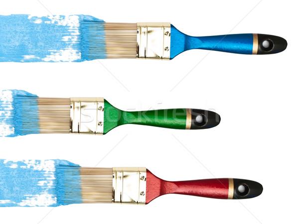 Azul cor branco ferramenta artista pincel Foto stock © SRNR