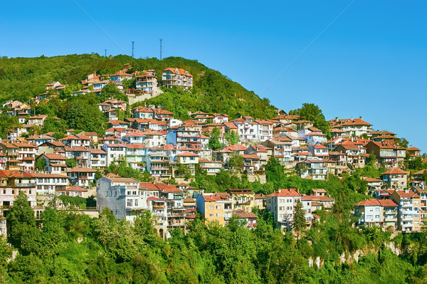 Város kerület domboldal ház épület tájkép Stock fotó © SRNR
