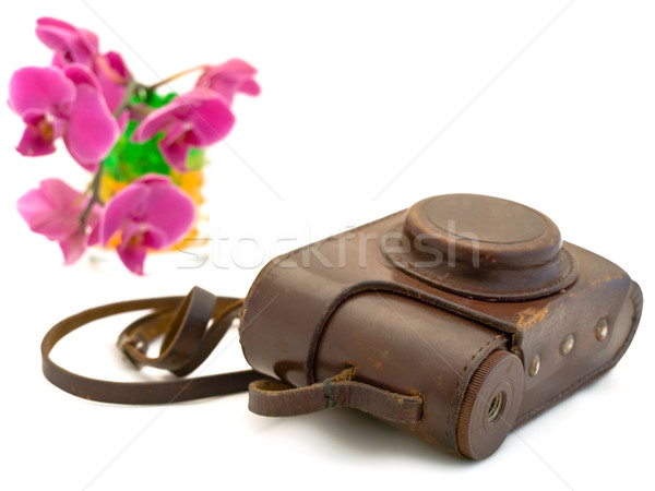 old photo camera  accessories and pink orchid  Stock photo © SRNR