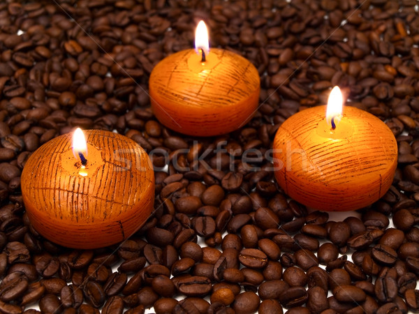 candles and coffe beans Stock photo © SRNR