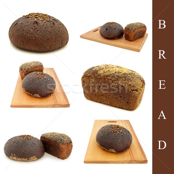 ストックフォト: パン · セット · 異なる · 白 · 小麦