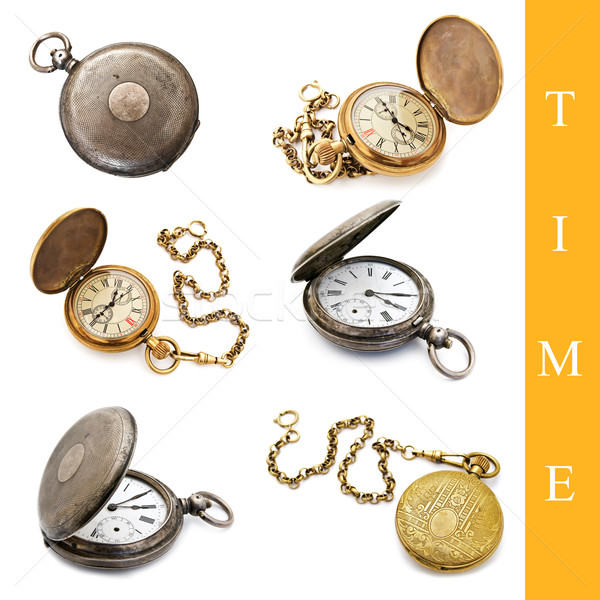 Reloj de bolsillo establecer diferente blanco metal Foto stock © SRNR