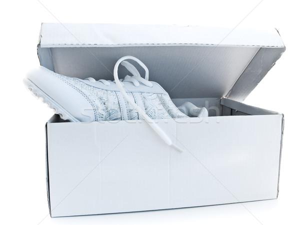 Corrida sapatos par branco esportes caixa Foto stock © SRNR