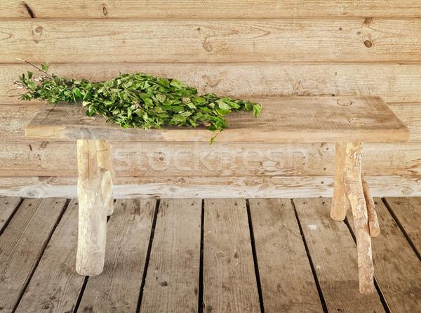 Bank bezem houten muur hout abstract Stockfoto © SRNR