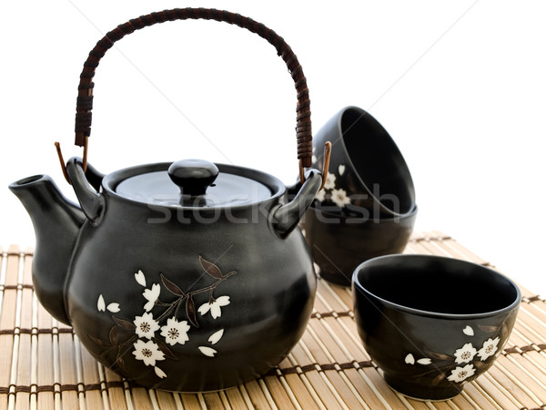 Stockfoto: Chinese · thee · ceremonie · tabel · bamboe