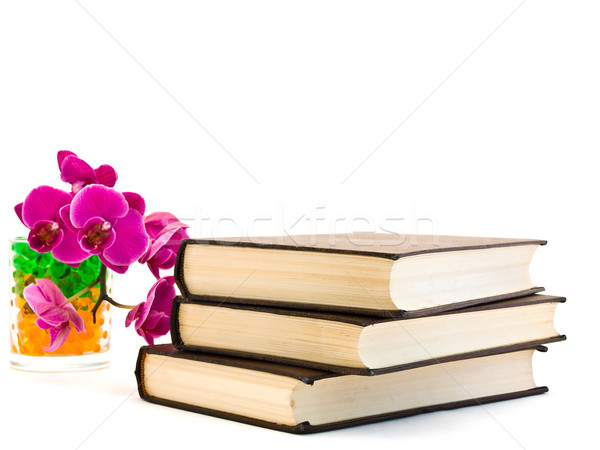 three books and  pink orchid Stock photo © SRNR