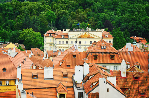 çatılar Prag kiremitli eski evler ev Stok fotoğraf © SRNR