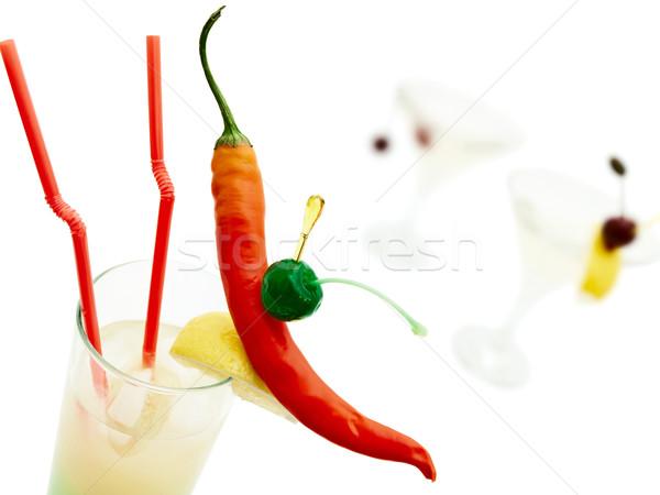 Koktélok forró tarka chilli bors fehér Stock fotó © SRNR