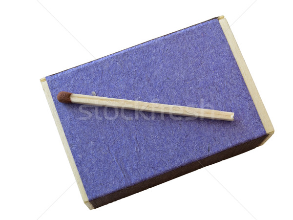 Single match at isolated match box against the white background Stock photo © SRNR