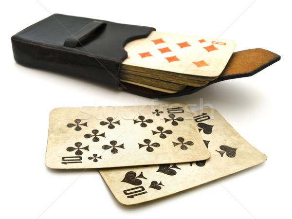 öreg kártyapakli bőr borító papír siker Stock fotó © SRNR