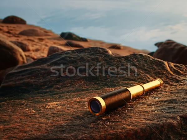 antique brass telescope Stock photo © SRNR