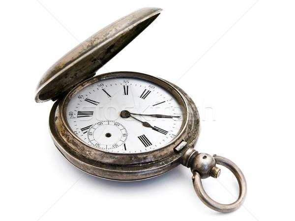 Foto stock: Prata · relógio · de · bolso · abrir · velho · branco · mão