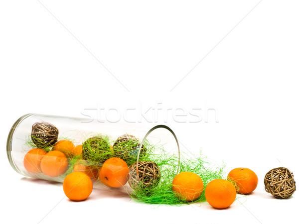 decorative glass vase with mandarines Stock photo © SRNR
