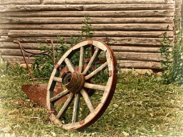 Dorp wiel ploeg gras houten muur Stockfoto © SRNR