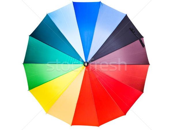 Wielobarwny parasol biały tęczy kolory otwarte Zdjęcia stock © SRNR