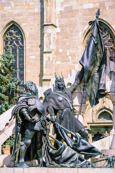 Szobor középkori harcosok város férfi művészet Stock fotó © SRNR