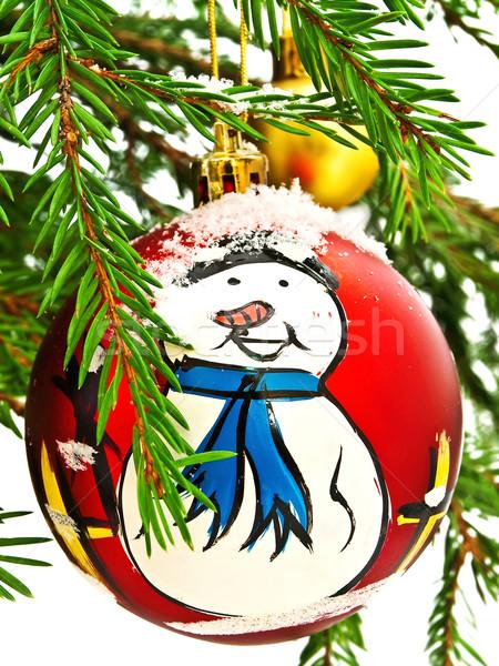 új év játék hóember hó fenyőfa brunch Stock fotó © SRNR