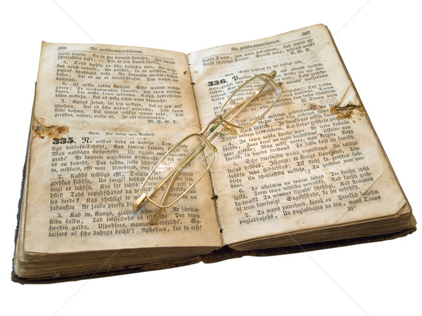 Aislado libro viejo gafas blanco educación Foto stock © SRNR