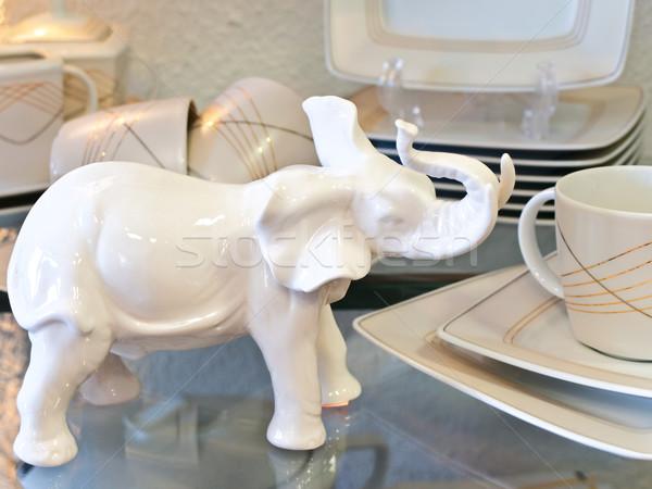 porcelain elephant and tea service Stock photo © SRNR