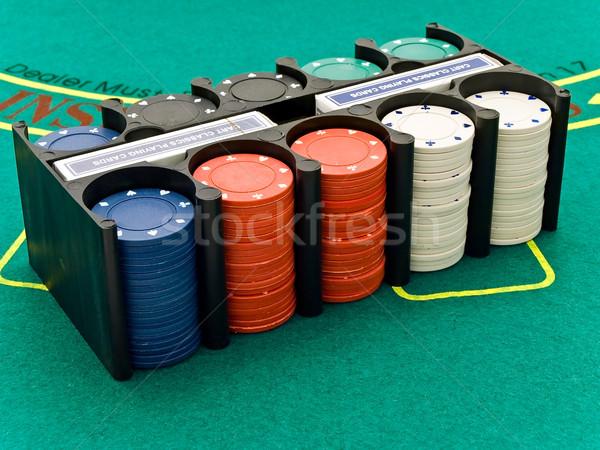 фишки казино набор играет чипов карт зеленый Сток-фото © SRNR