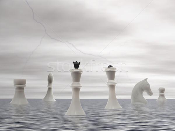 белый шахматам приход морем замок Skyline Сток-фото © SRNR