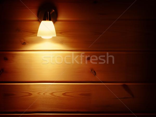 Lampy ściany tekstury drewna świetle Zdjęcia stock © SRNR