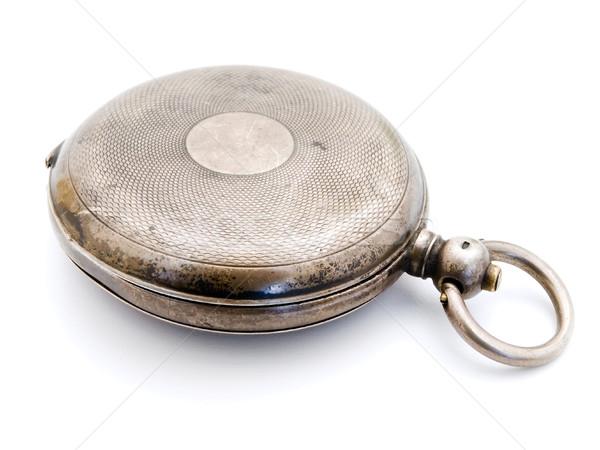 Foto stock: Relógio · de · bolso · fechado · velho · prata · branco · relógio