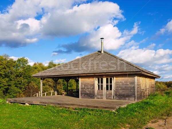 Foto stock: Casa · velho · floresta · estrada · céu
