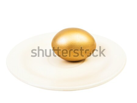 golden egg at plate Stock photo © SRNR