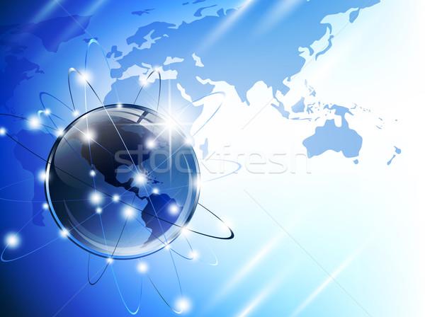 Wereldbol kaart wereldkaart openbare domein glanzend Stockfoto © SRNR