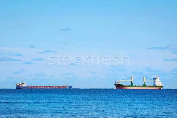 Stockfoto: Vracht · schepen · twee · zwarte · zee · water