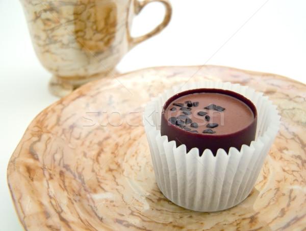 Pires chocolate copo branco tabela doce Foto stock © SRNR