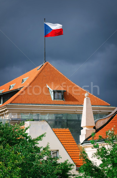Сток-фото: флаг · крыши · плиточные · Прага · Чешская · республика