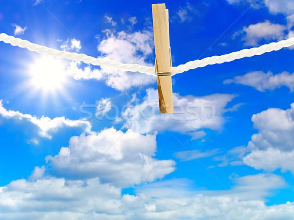 Ruházat szeg fából készült kötél kék felhős Stock fotó © SRNR