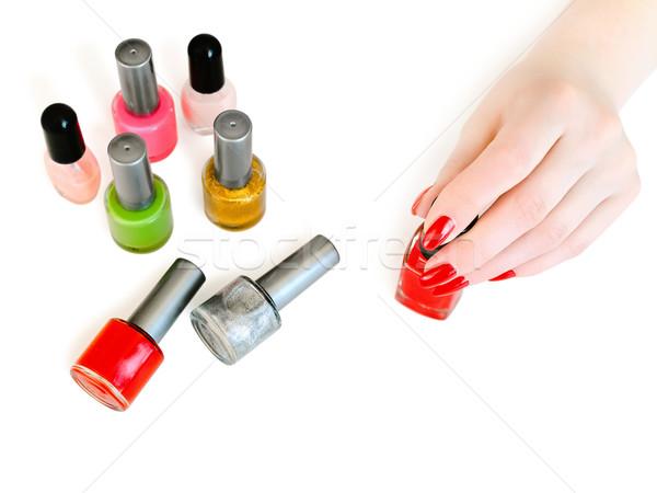 Manicure mulher pronto cobrir unhas vermelho Foto stock © SRNR