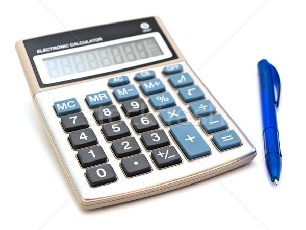 Kalkulator pióro biały finansów przycisk rachunkowości Zdjęcia stock © SRNR