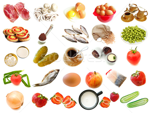 set from different food and drinks items Stock photo © SRNR