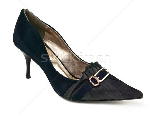 Femme chaussures célibataire chaussures blanche noir Photo stock © SRNR