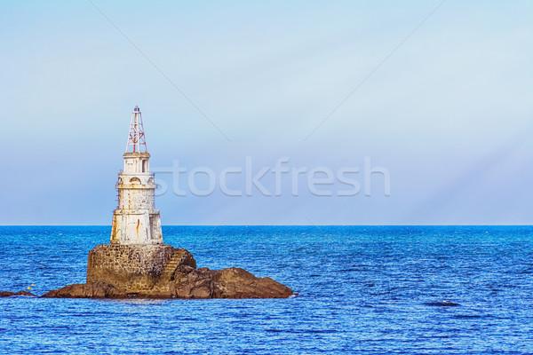 Baken zee klein zwarte gebouw vuurtoren Stockfoto © SRNR