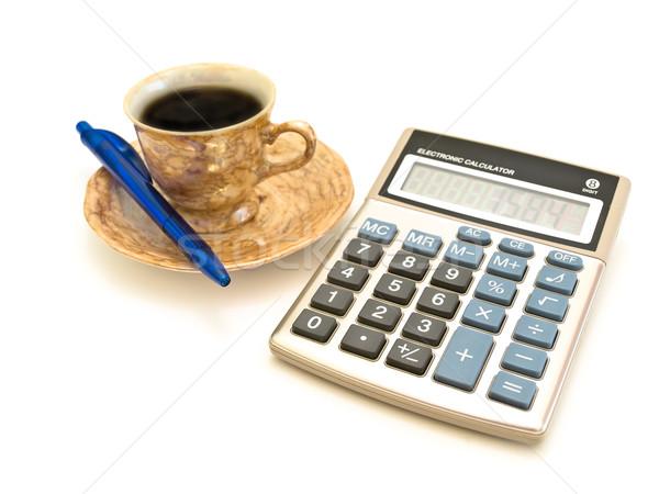 Kalkulator kawy pióro biały finansów przycisk Zdjęcia stock © SRNR