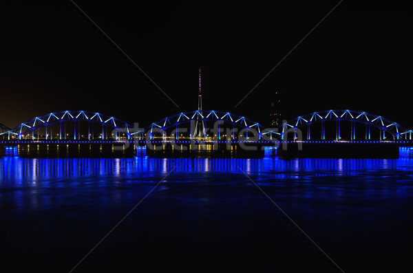 鉄道 橋 1泊 水 照明 反射 ストックフォト © SRNR