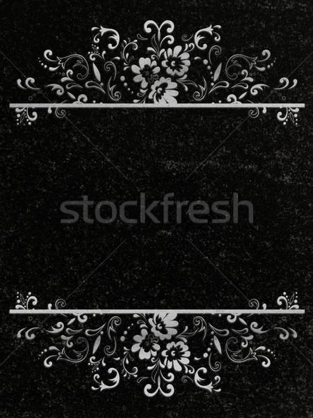 Decorado granito floral quadro decoração preto Foto stock © SRNR