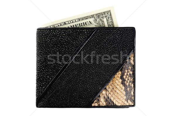 Pénztárca eredeti bőr fehér pénz pénz Stock fotó © SRNR