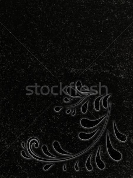 Decorado granito lápide floral decoração preto Foto stock © SRNR