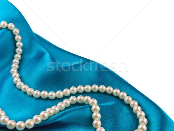 Gyöngy gyöngyök kék selyem ruha szépség Stock fotó © SRNR