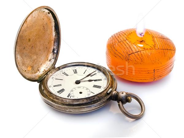 Foto stock: Tempo · luz · antigo · prata · bolso · ardente