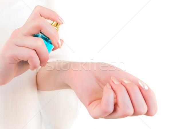 Perfumaria mulher perfume pulso mão feminino Foto stock © SRNR